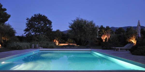 argeles holiday rental pool by night